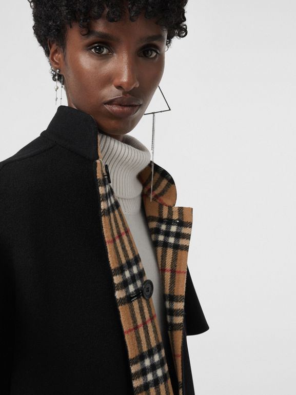 Reversible Vintage Check Poncho in Black - Women | Burberry - cell image 1