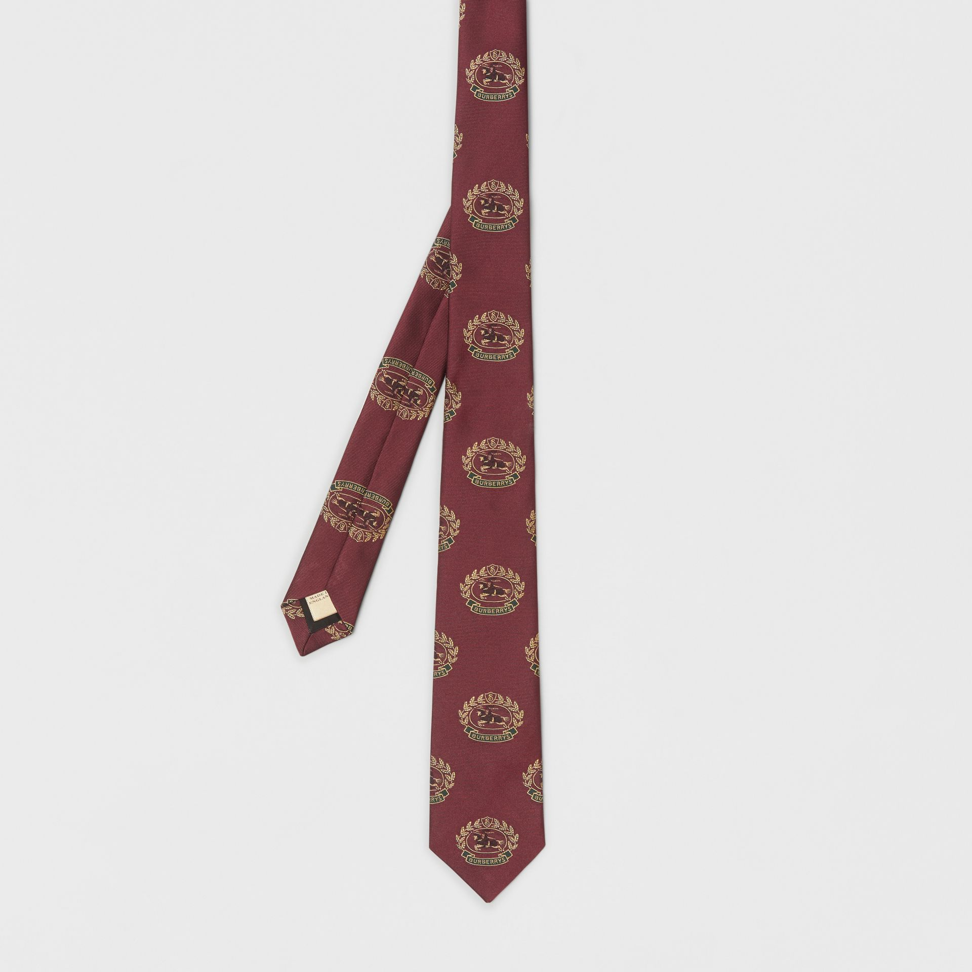 Slim Cut Archive Crest Silk Tie in Claret - Men | Burberry Australia - gallery image 4