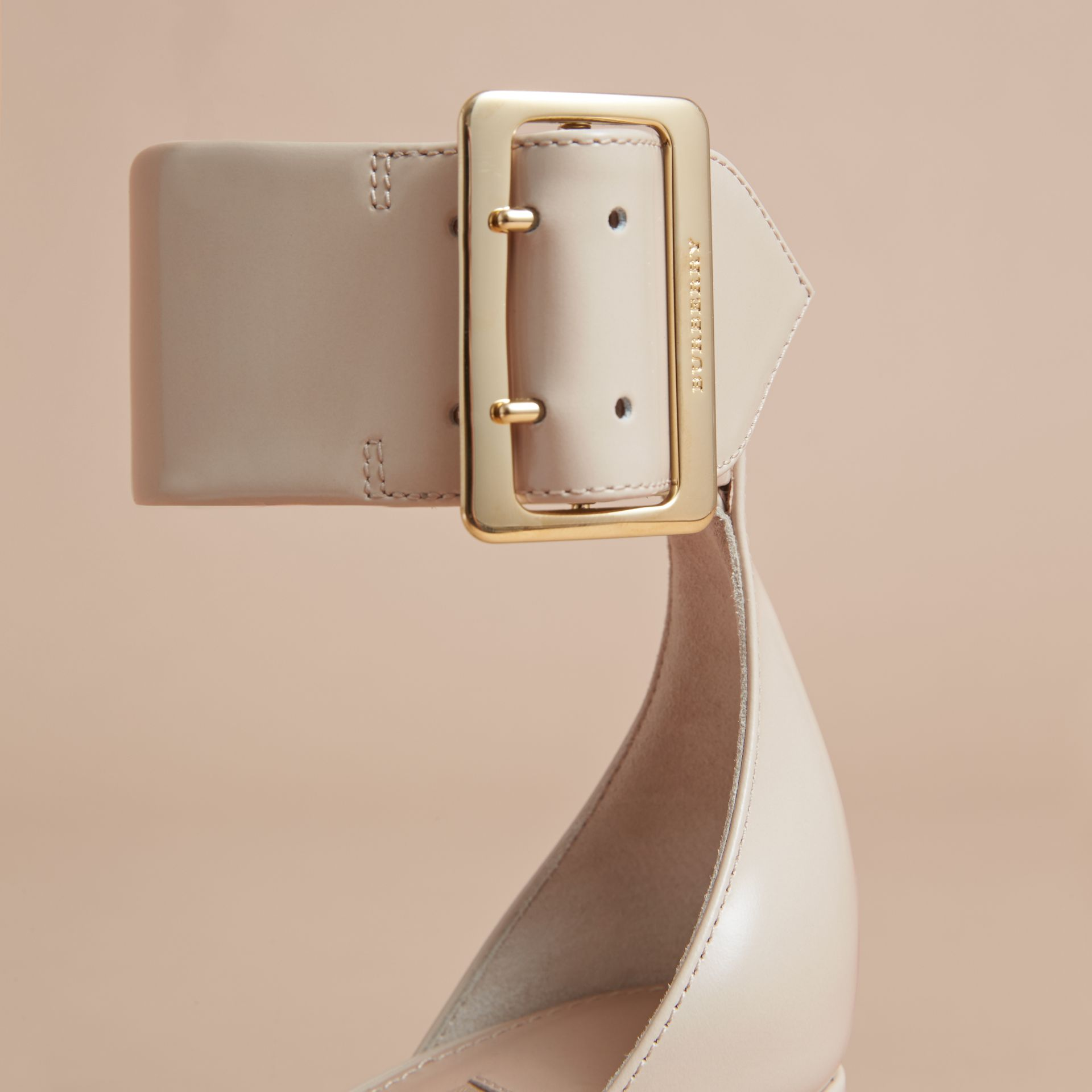 Buckle Detail Patent Leather Sandals in Pale Taupe - Women | Burberry - gallery image 5
