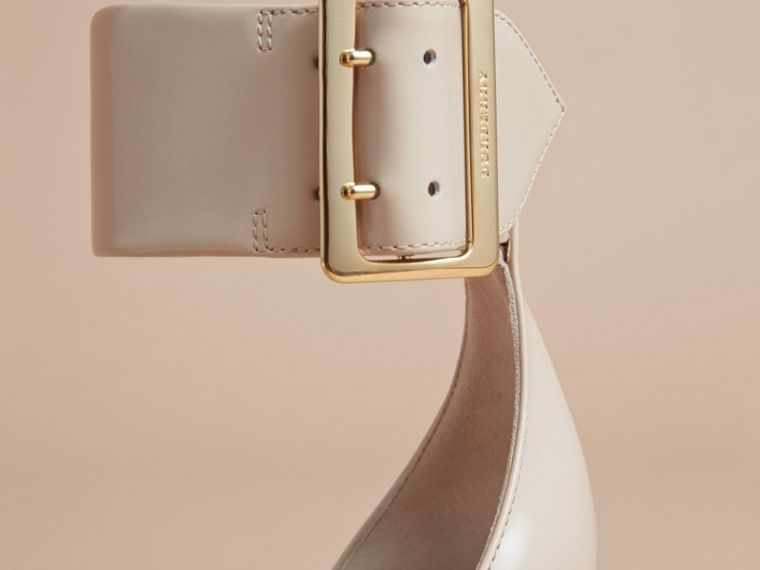 Buckle Detail Patent Leather Sandals in Pale Taupe - Women | Burberry - cell image 4