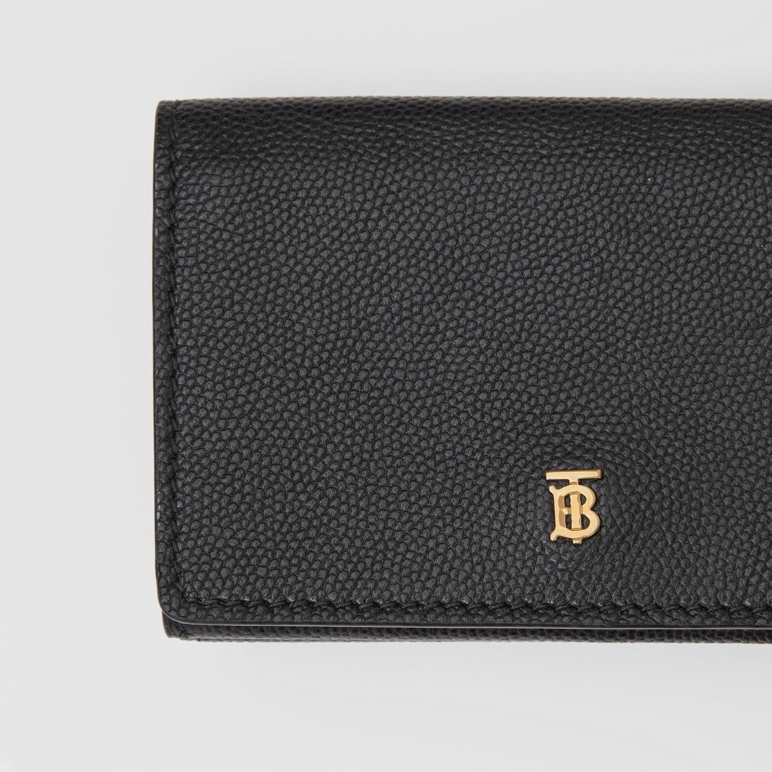 Small Grainy Leather Folding Wallet in Black - Women | Burberry - 2