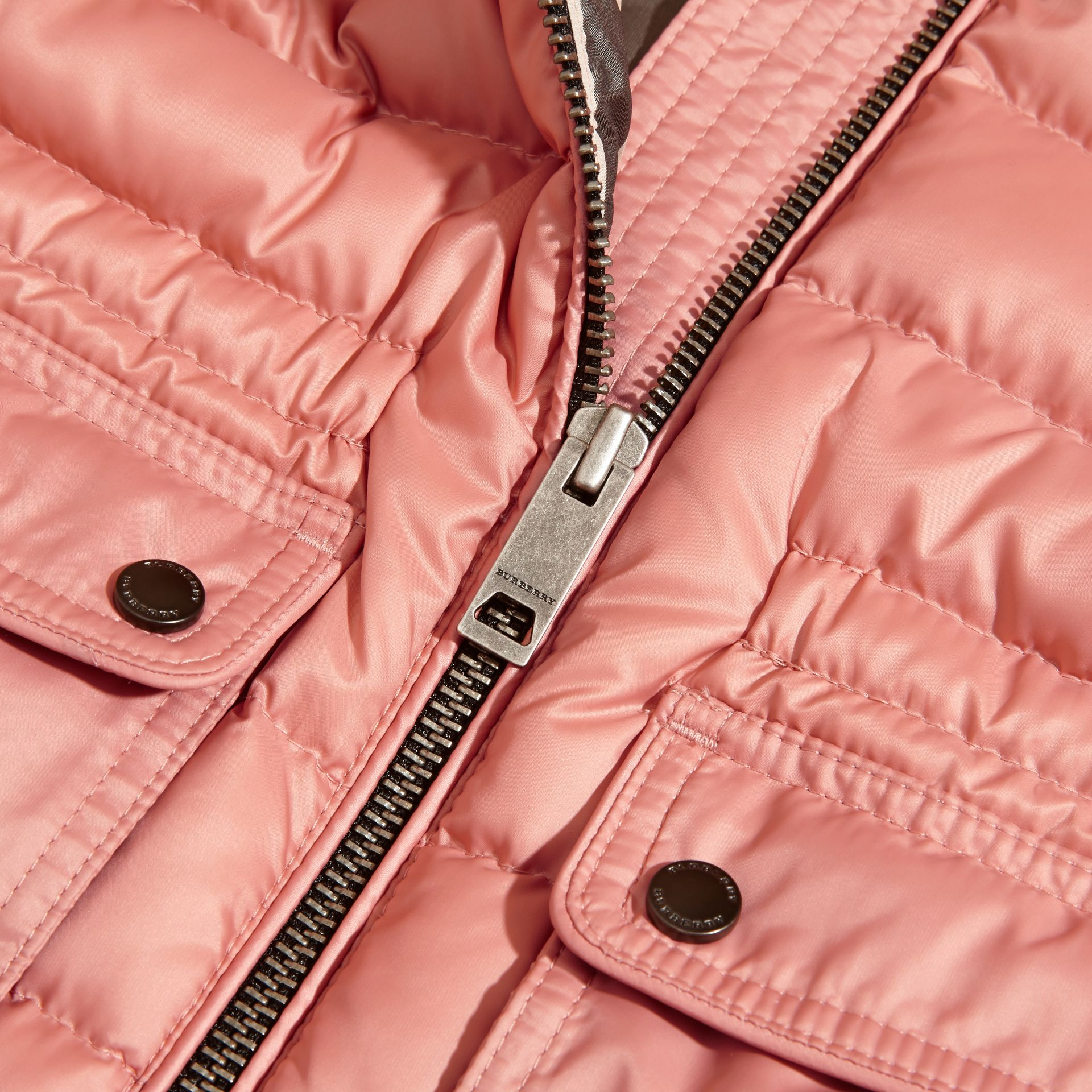 Hooded Down-filled Gilet Light Copper Pink - gallery image 2