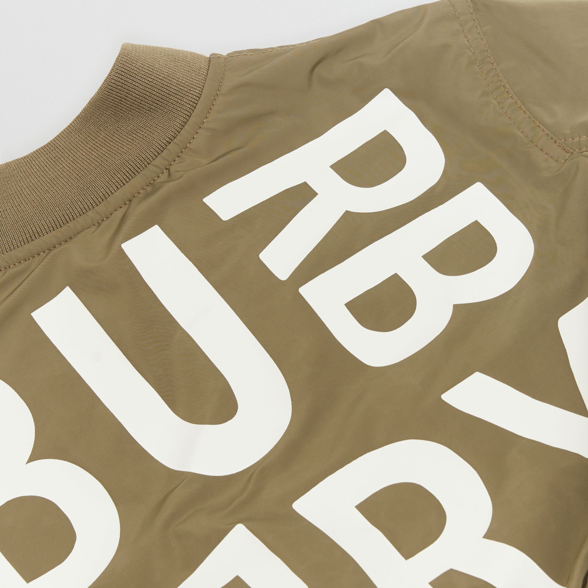 Logo Print Shape-memory Taffeta Bomber Jacket in Khaki - Children | Burberry - gallery image 1