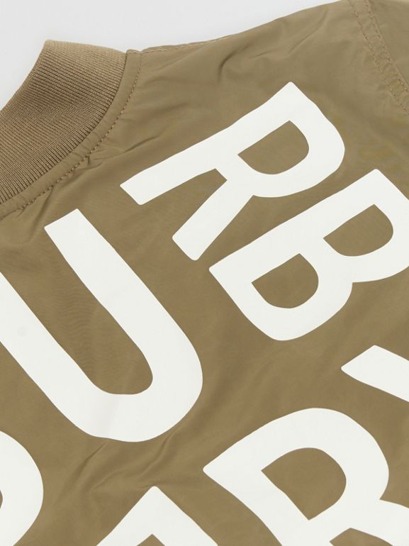Logo Print Shape-memory Taffeta Bomber Jacket in Khaki - Children | Burberry - cell image 1
