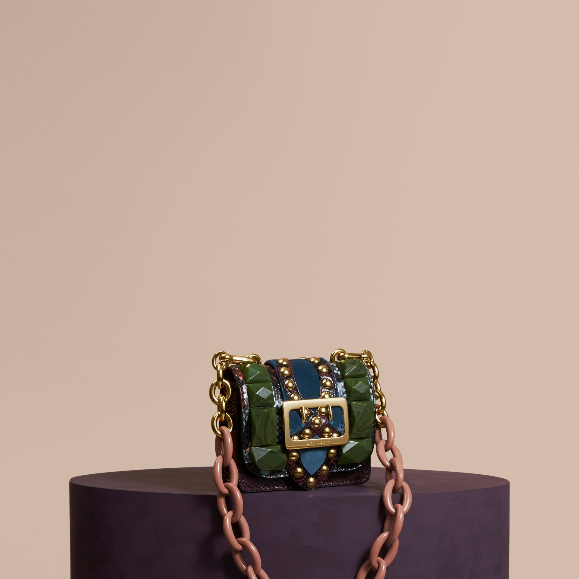 Turquoise green The Mini Square Buckle Bag in Ostrich, Snakeskin and Velvet - gallery image 1