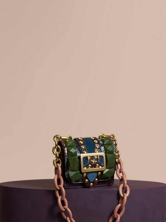 The Mini Square Buckle Bag in Ostrich, Snakeskin and Velvet
