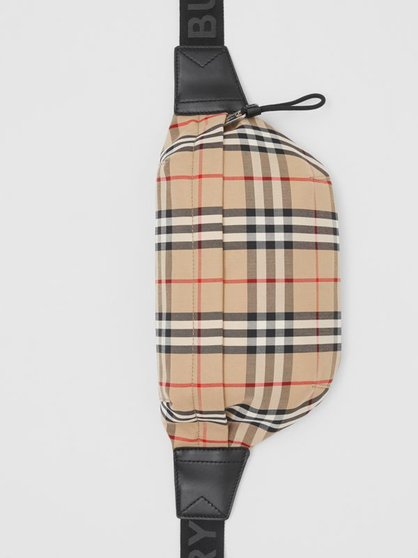 Medium Vintage Check Bonded Cotton Bum Bag in Archive Beige - Men | Burberry - cell image 3