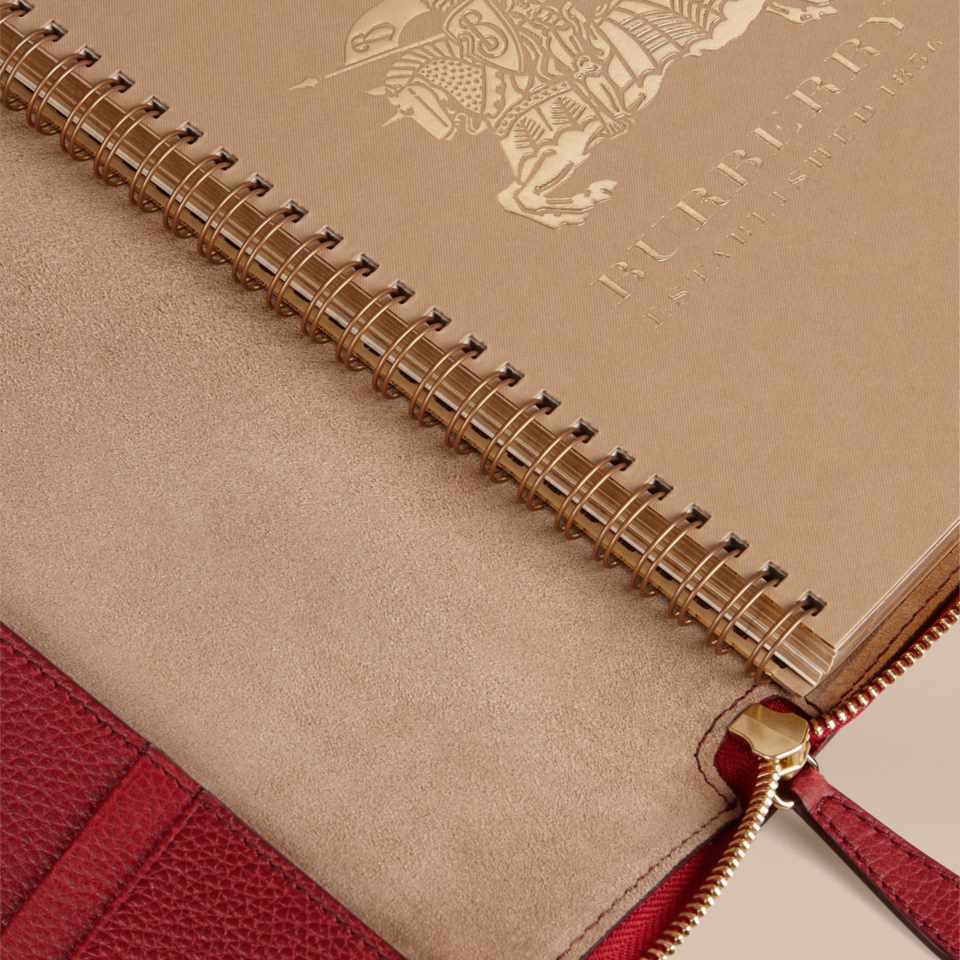 Ziparound Grainy Leather A5 Notebook in Parade Red | Burberry - gallery image 5