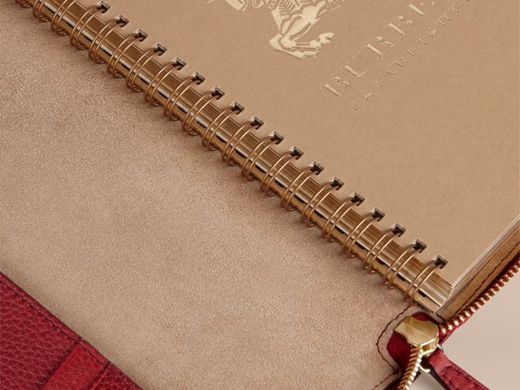 Ziparound Grainy Leather A5 Notebook in Parade Red | Burberry - cell image 4