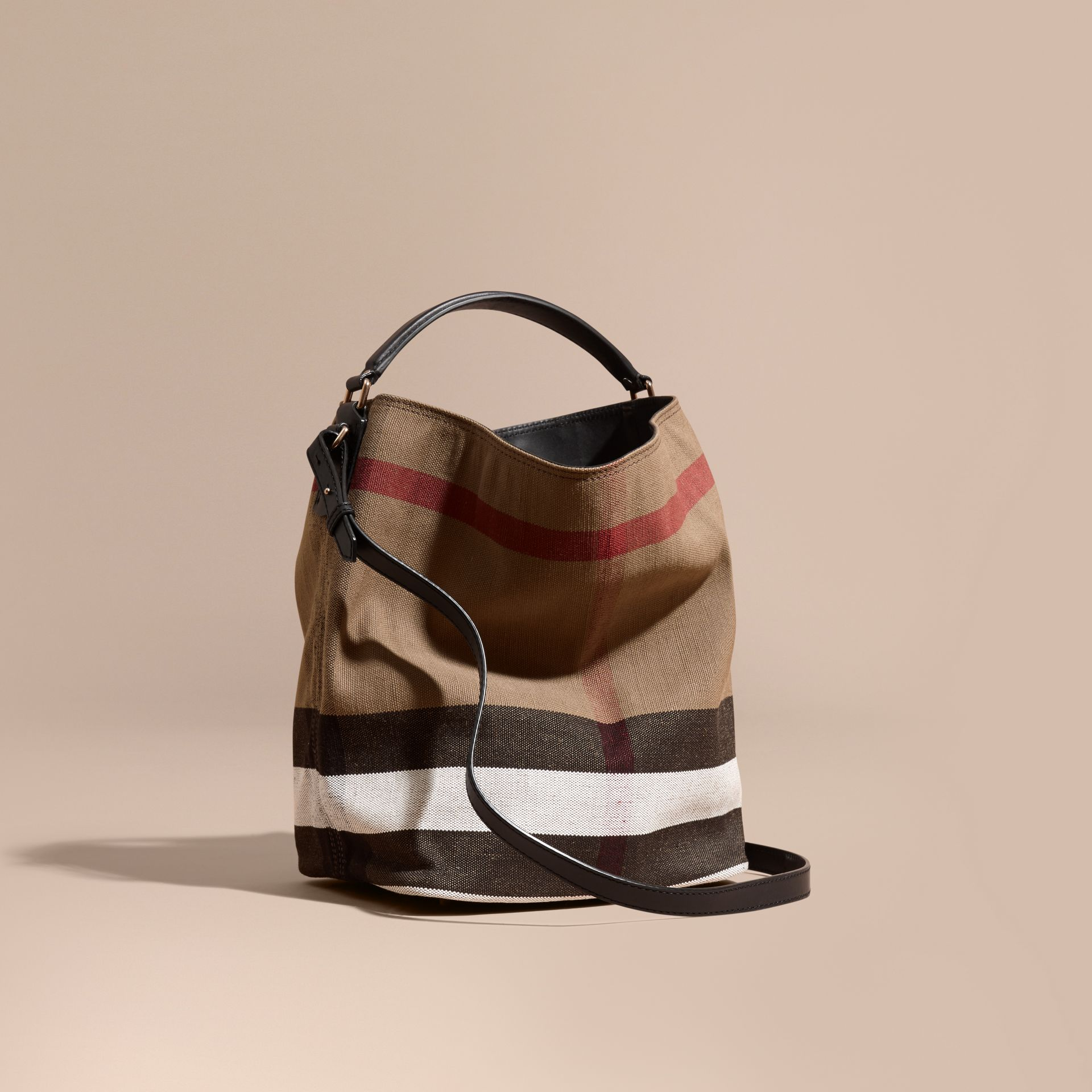 The Medium Ashby in Canvas Check and Leather in Black - gallery image 1