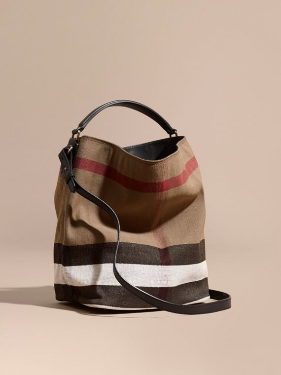 The Medium Ashby in Canvas Check and Leather in Black - Women | Burberry