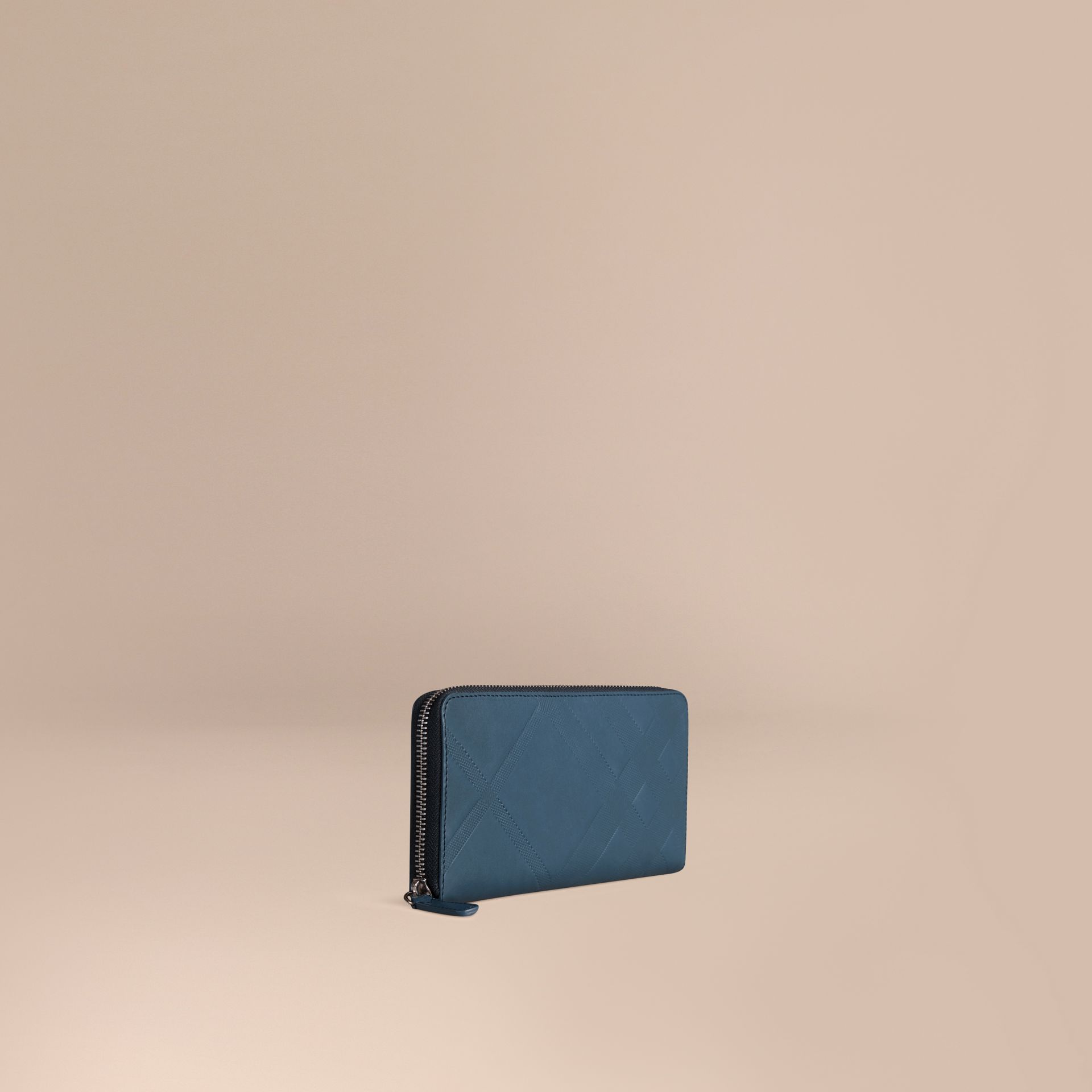 Steel blue Check-embossed Leather Ziparound Wallet Steel Blue - gallery image 1