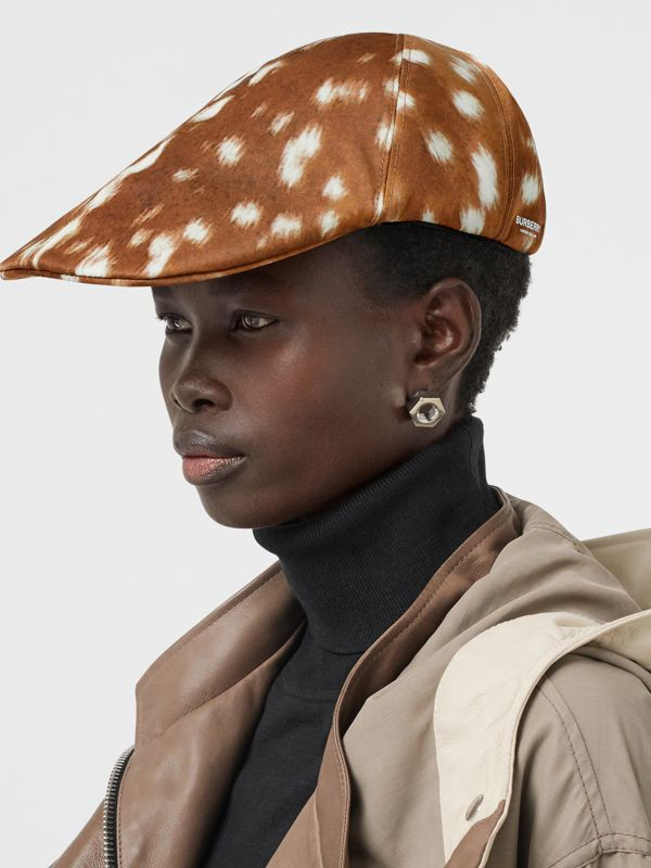 Deer Print Nylon Flat Cap in Tan | Burberry Singapore - cell image 2