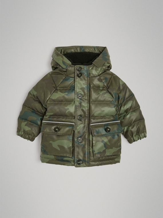 Camouflage Print Down-filled Puffer Jacket in Khaki