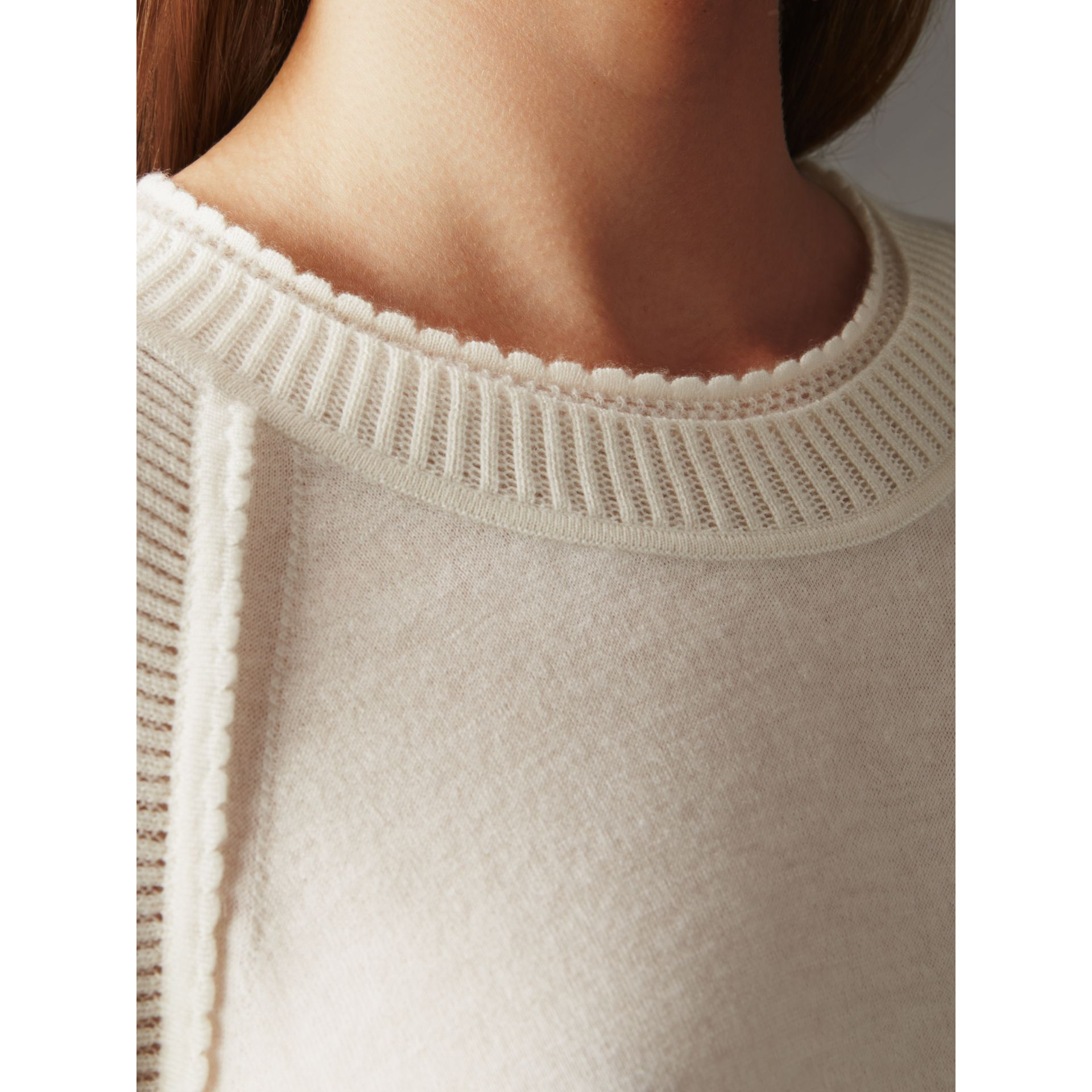 Open-knit Detail Cashmere Crew Neck Sweater in Natural White - Women | Burberry - gallery image 5