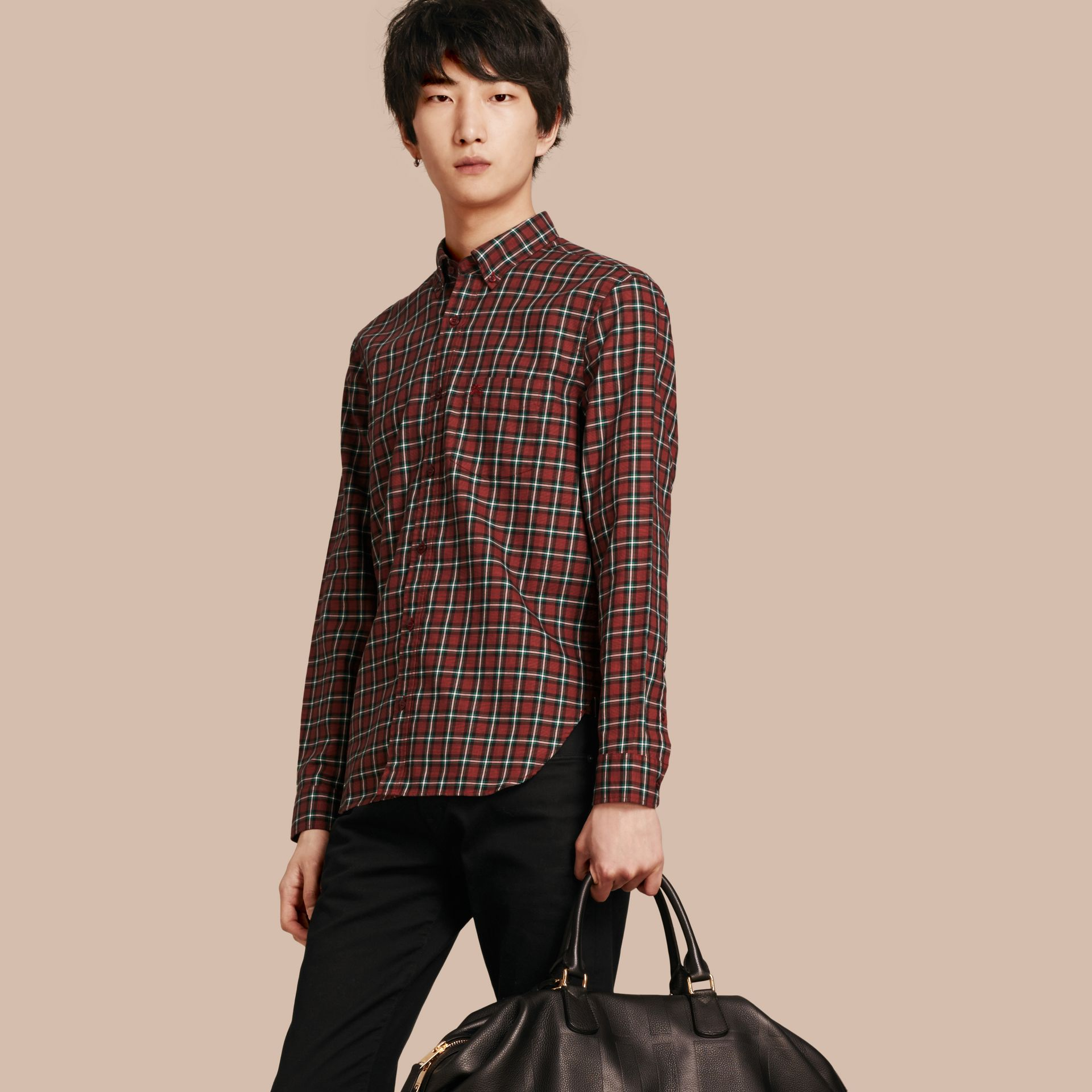 Parade red Tartan Cotton Twill Shirt Parade Red - gallery image 1