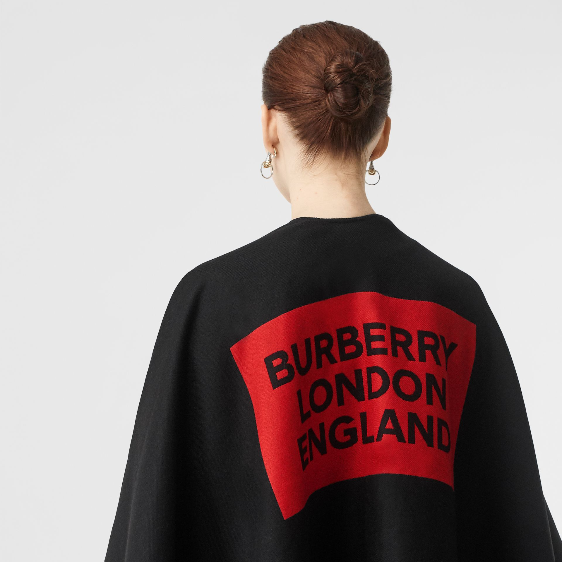 Logo Detail Wool Jacquard Cape in Black - Women | Burberry - gallery image 1