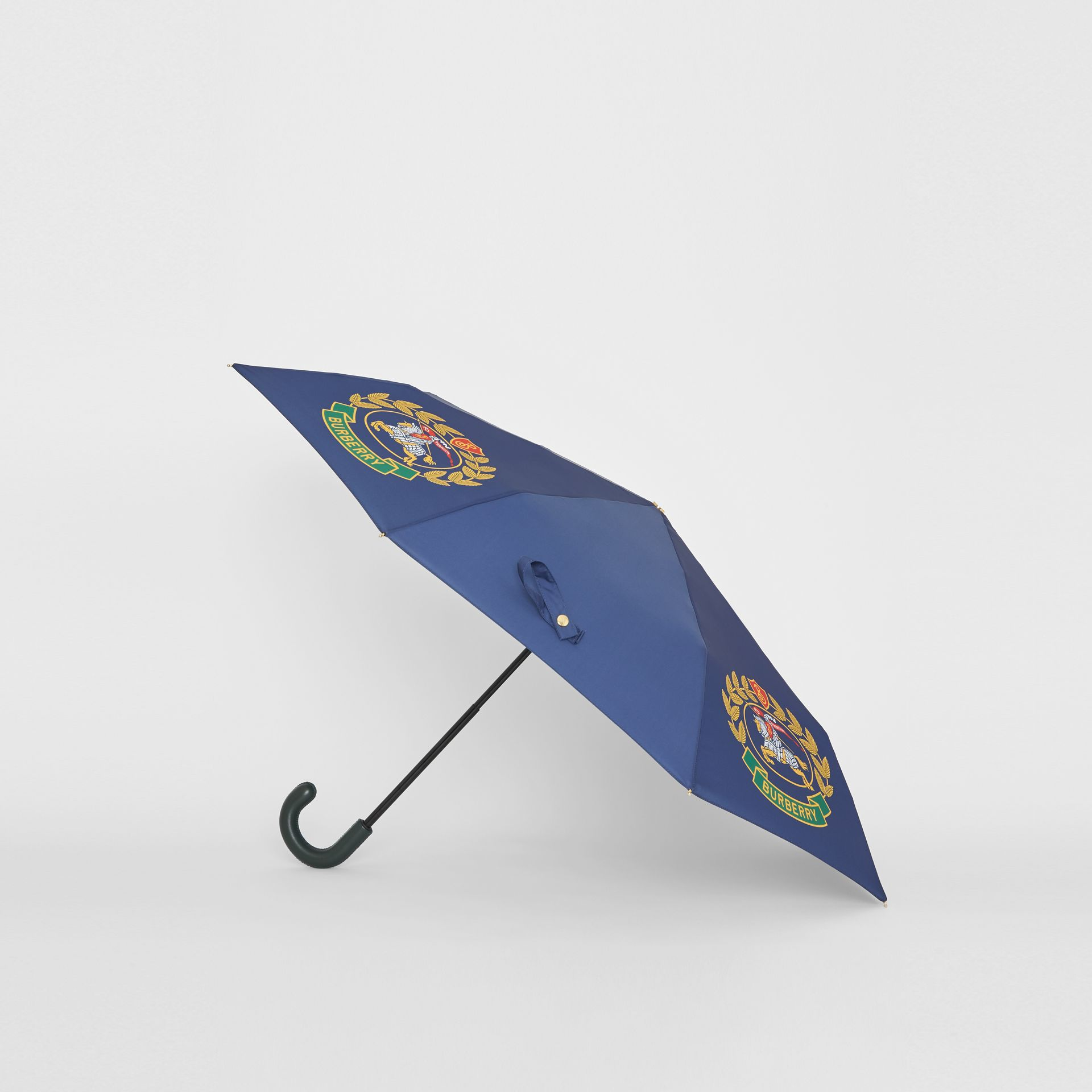 Crest Print Folding Umbrella in Navy | Burberry United Kingdom - gallery image 3