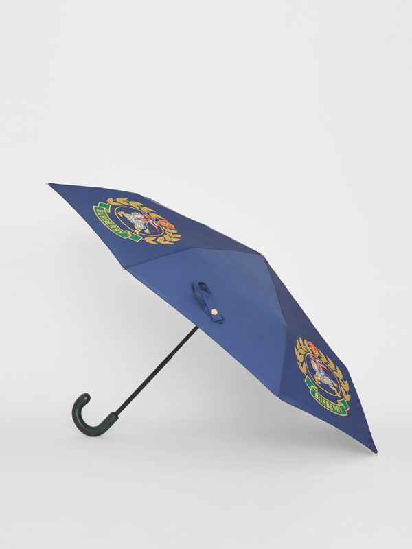 Crest Print Folding Umbrella in Navy | Burberry - cell image 3
