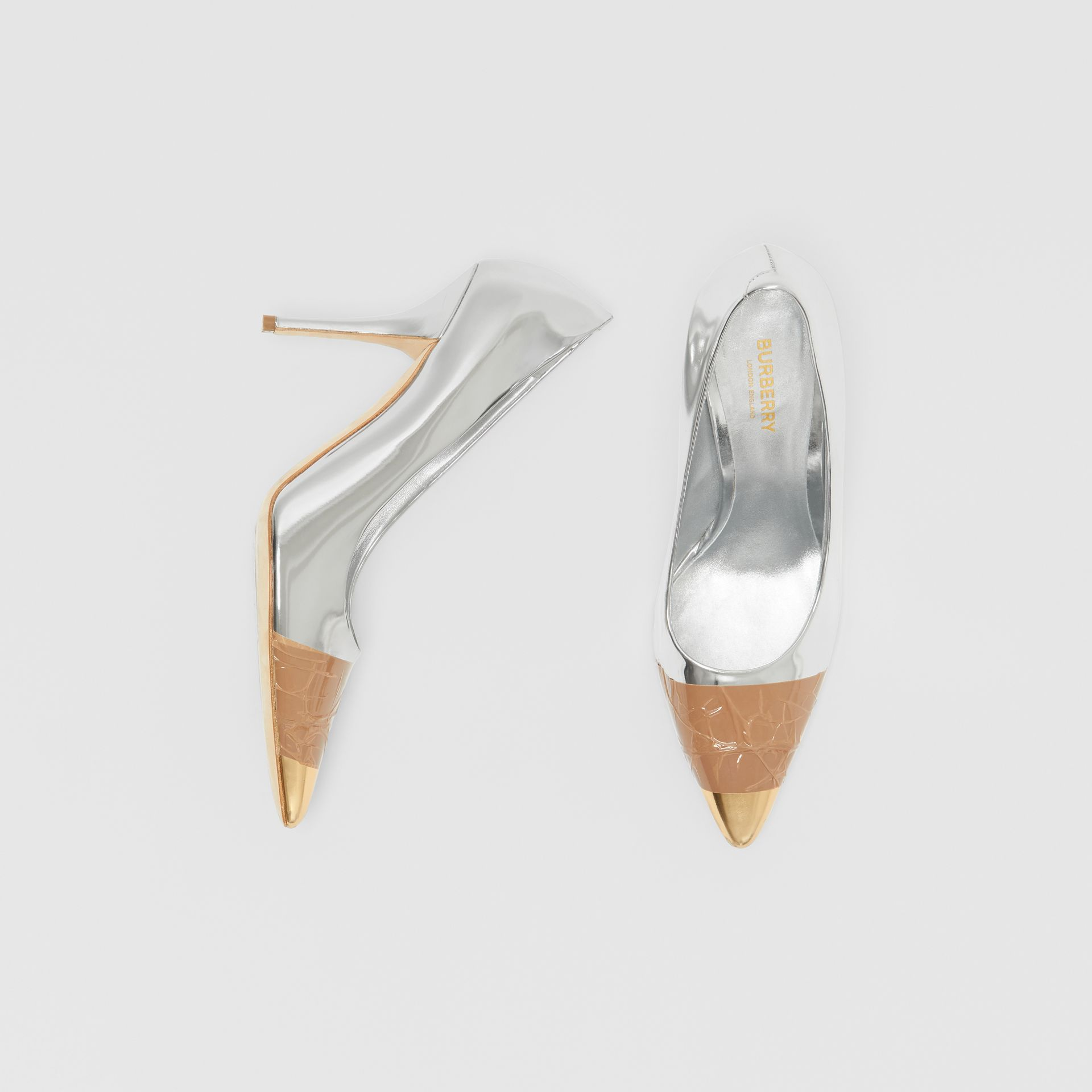 Tape Detail Mirrored Leather Pumps in Silver/gold - Women | Burberry - gallery image 0