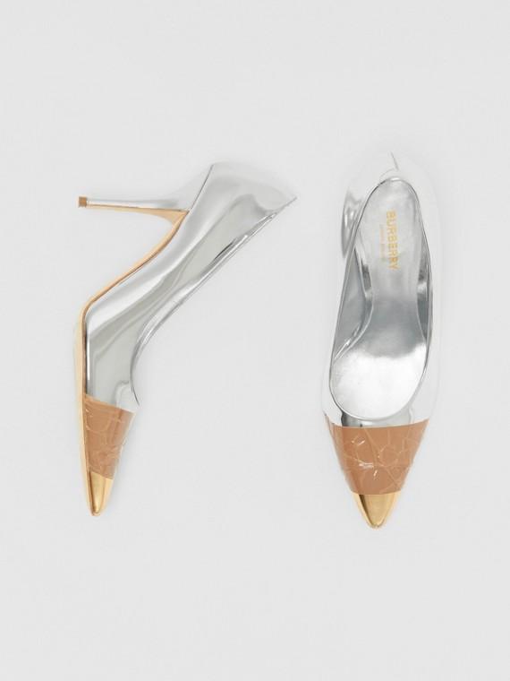 Escarpins en cuir effet miroir avec ruban adhésif (Argent/or)
