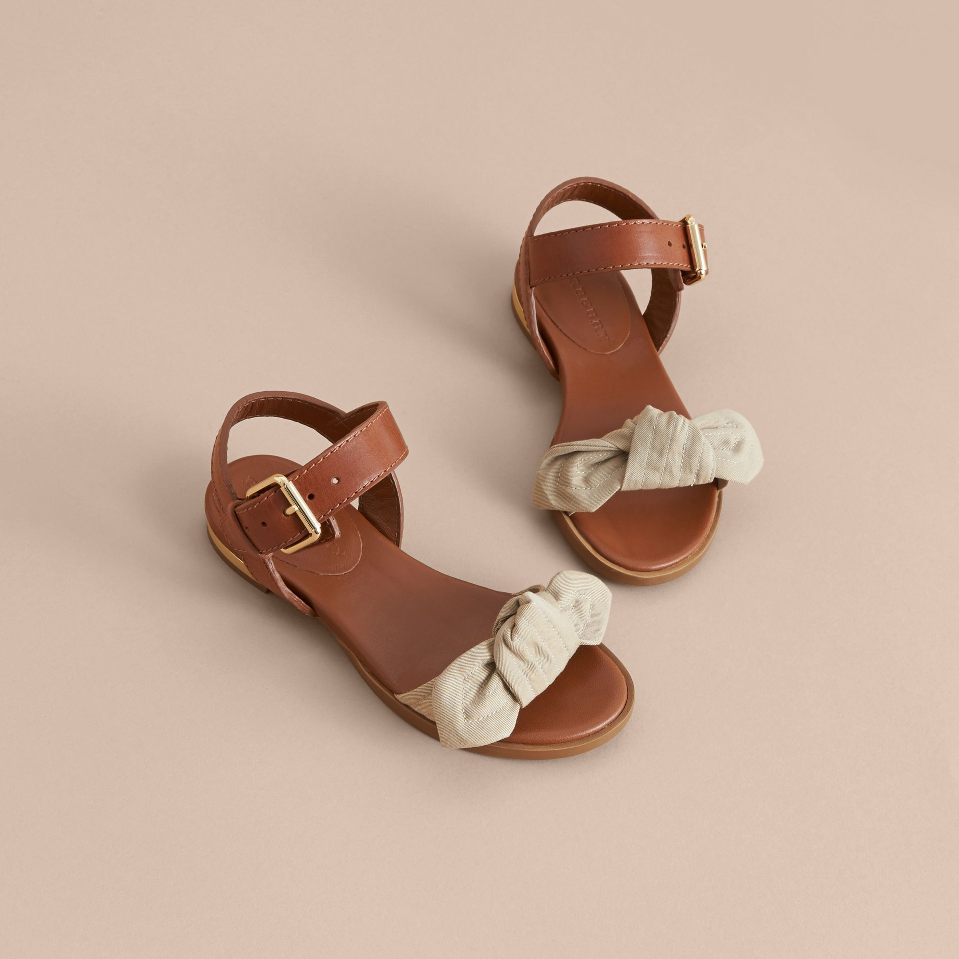 Cotton Bow and Leather Sandals | Burberry - gallery image 3