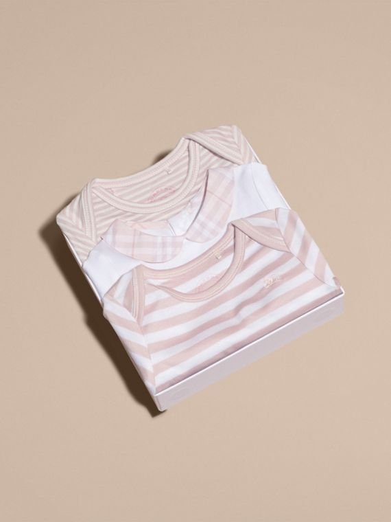 Patterned Cotton Blend Three-piece Baby Gift Set in Powder Pink - Children | Burberry - cell image 3