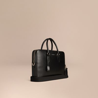 BURBERRY Embossed Grainy Leather Holdall, Black