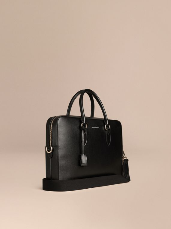 London Leather Briefcase in Black - Men | Burberry Canada