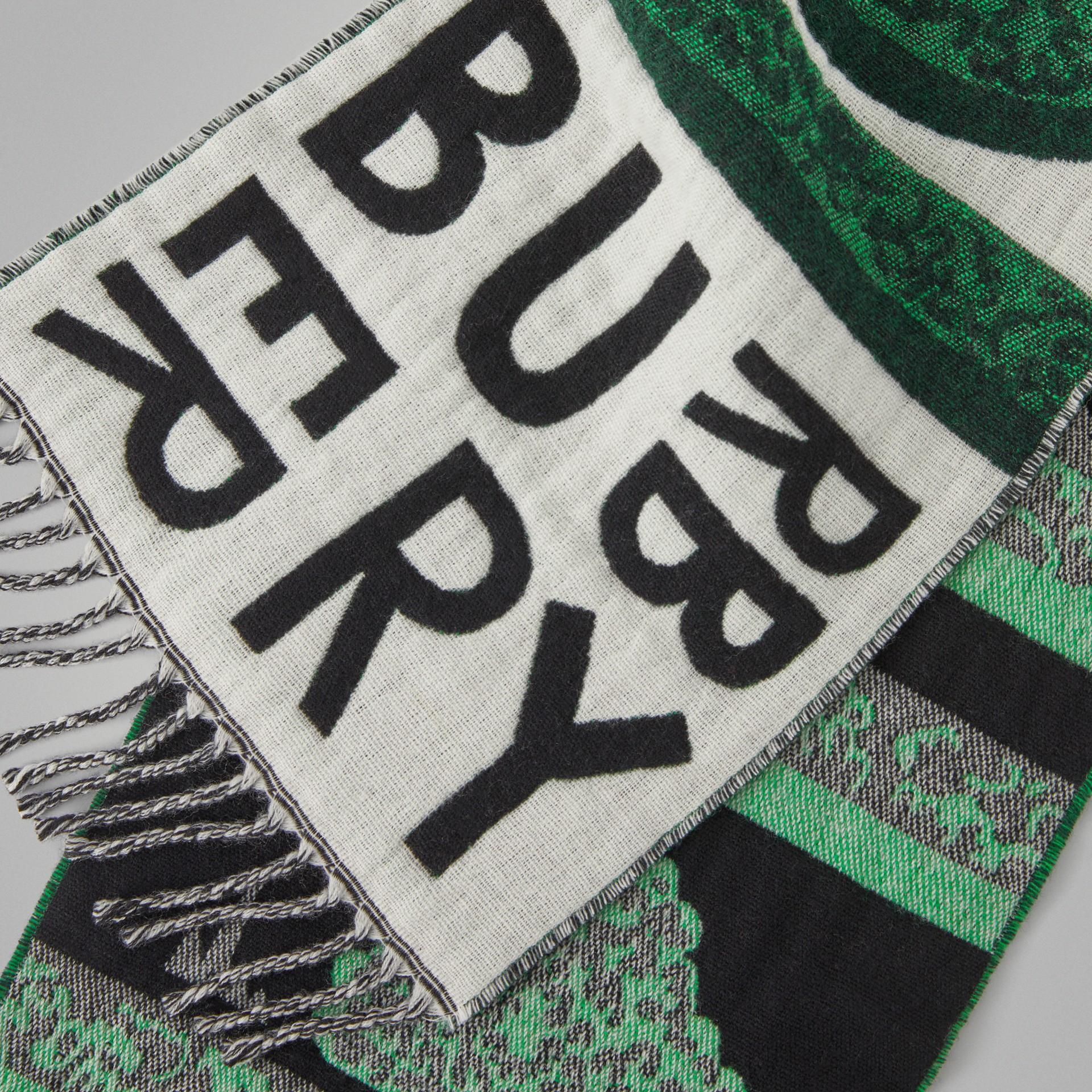 Жаккардовый шарф с узором Hedge Maze (Зеленый Турмалин) - Для детей | Burberry - изображение 1