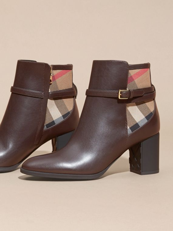 Noisette Bottines en cuir et coton House check Noisette - cell image 2