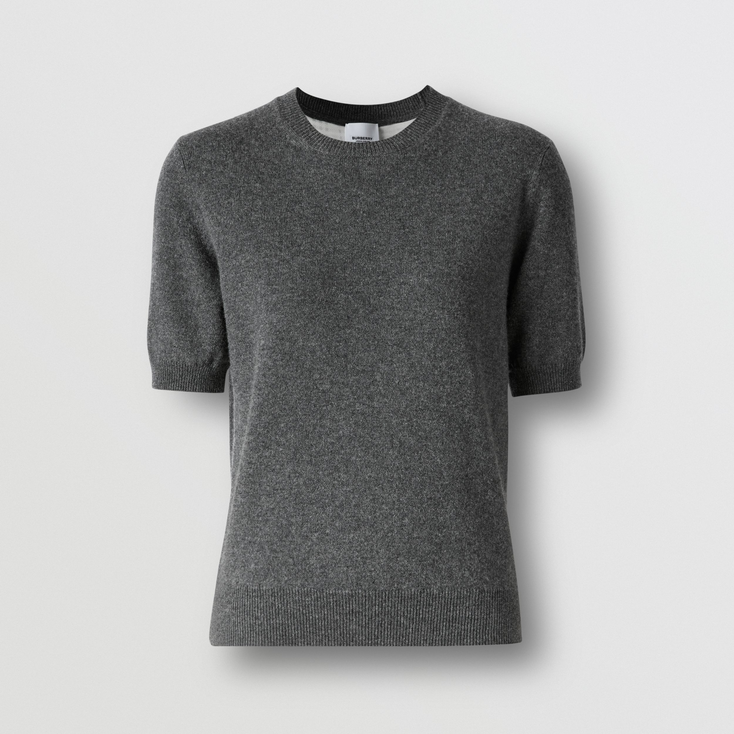 Short-sleeve Cashmere Top in Grey Melange - Women | Burberry - 4