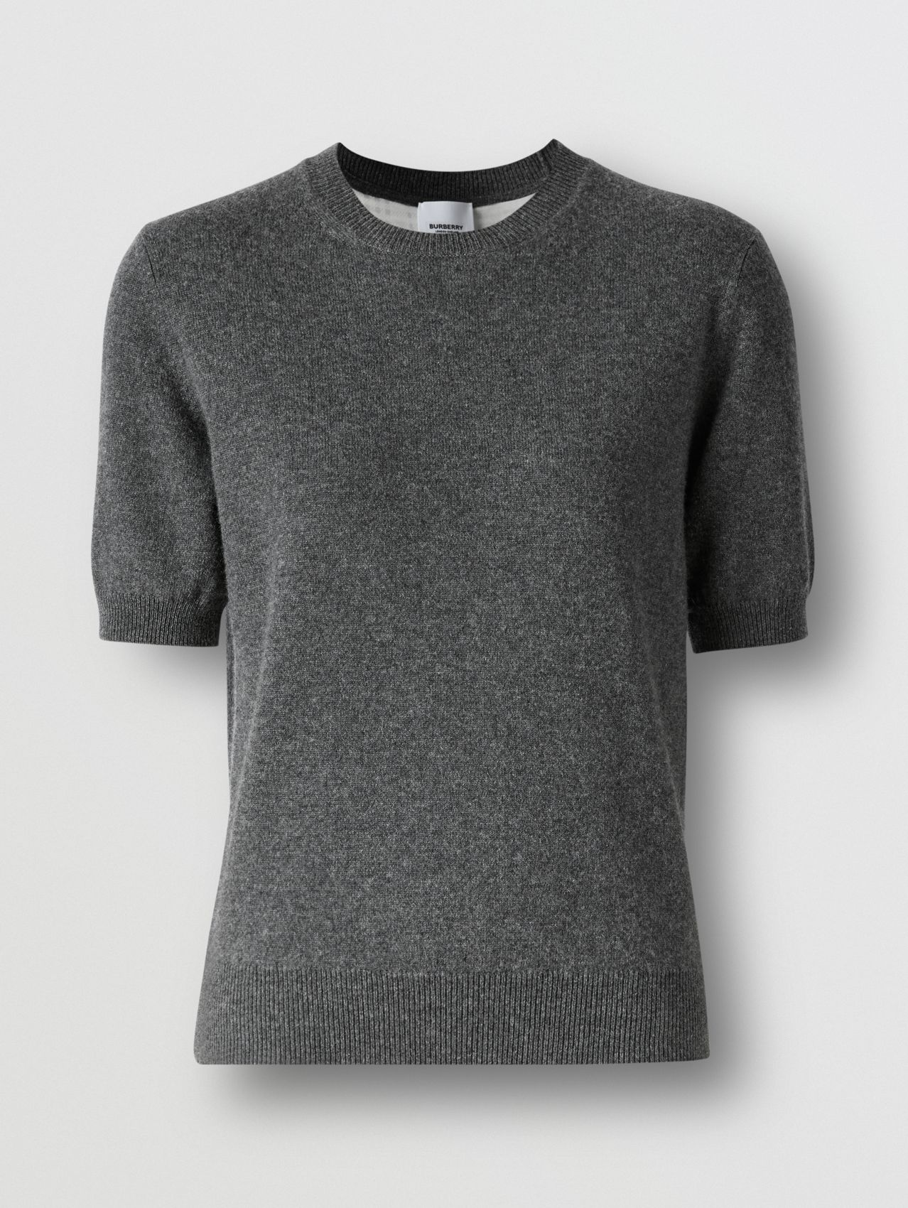 Short-sleeve Cashmere Top in Grey Melange