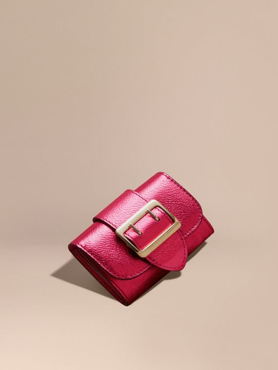 Metallic Leather Card Case Bright Pink