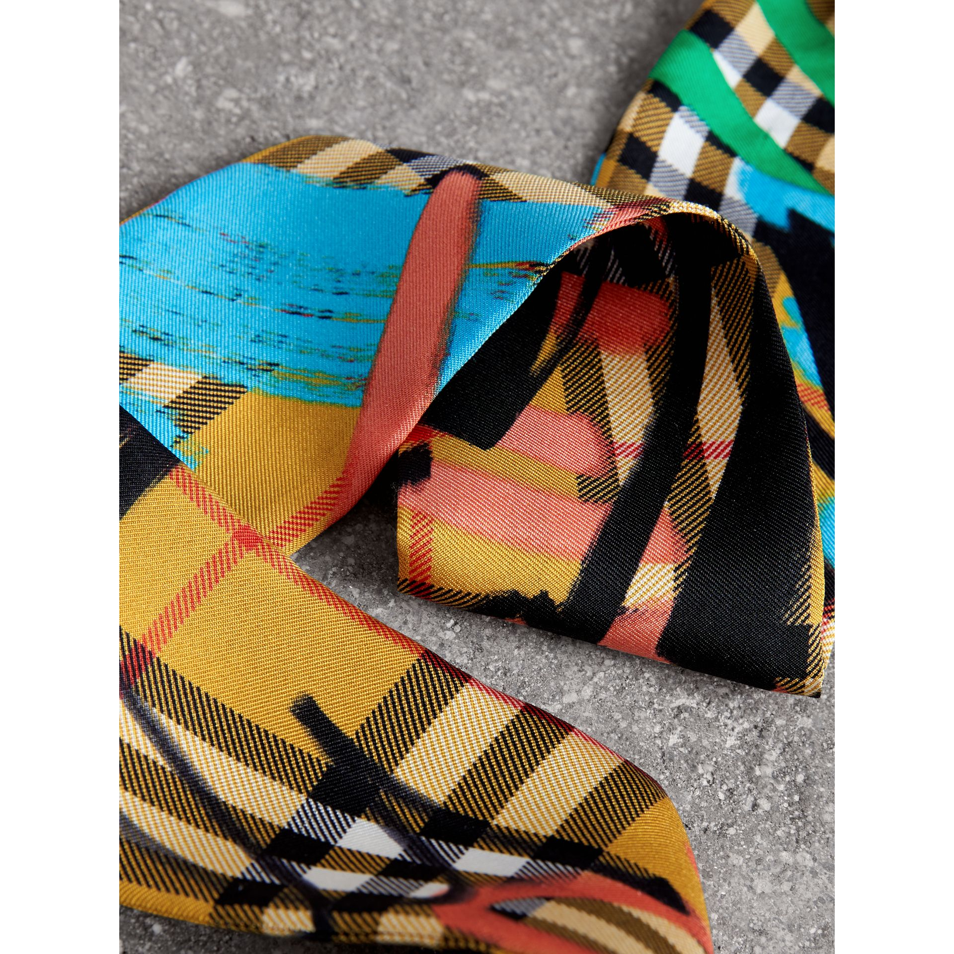 Graffiti Vintage Check Silk Skinny Scarf in Antique Yellow - Women | Burberry Australia - gallery image 1