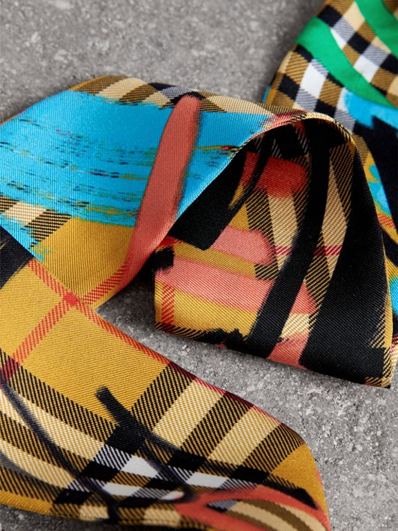 Graffiti Vintage Check Silk Slim Scarf in Antique Yellow - Women | Burberry United Kingdom - cell image 1