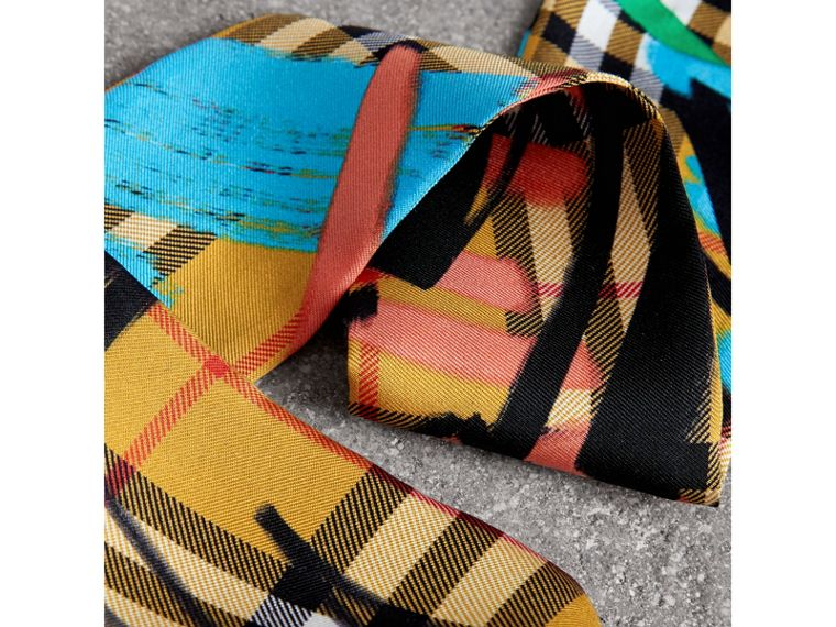 Graffiti Vintage Check Silk Slim Scarf in Antique Yellow - Women | Burberry Singapore - cell image 1