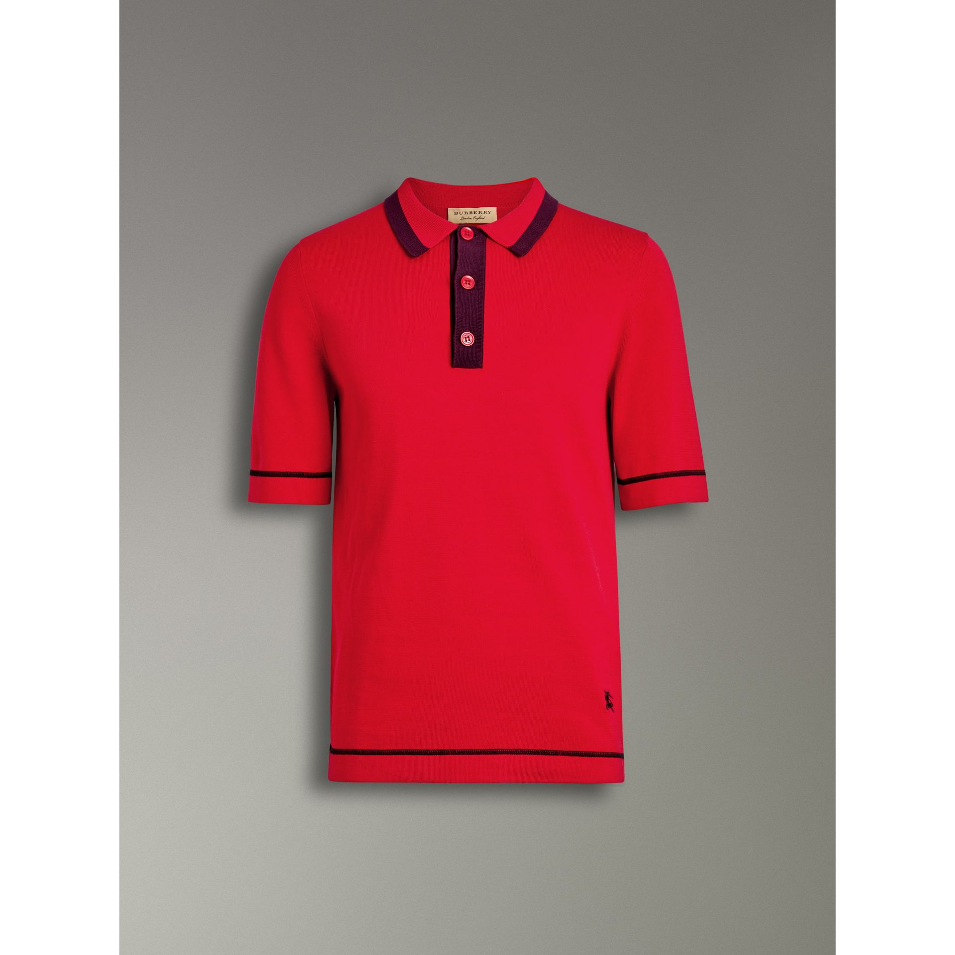 Tipped Cotton Jersey Polo Shirt in Bright Red - Men | Burberry - gallery image 3