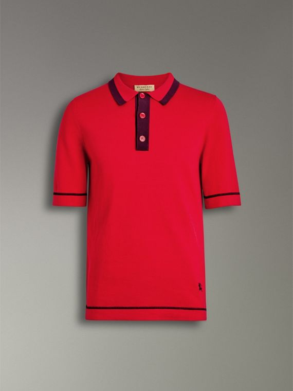 Tipped Cotton Jersey Polo Shirt in Bright Red - Men | Burberry United Kingdom - cell image 3