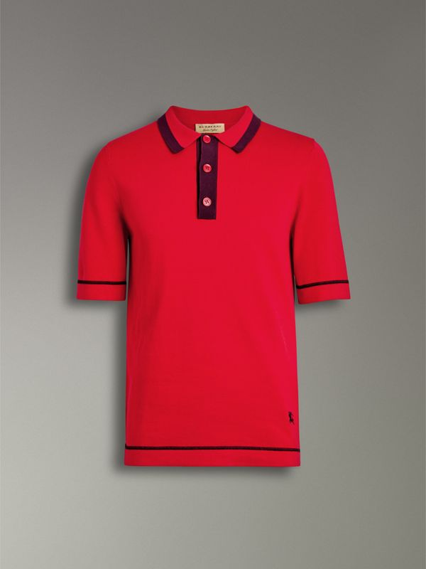 Tipped Cotton Jersey Polo Shirt in Bright Red - Men | Burberry Australia - cell image 3
