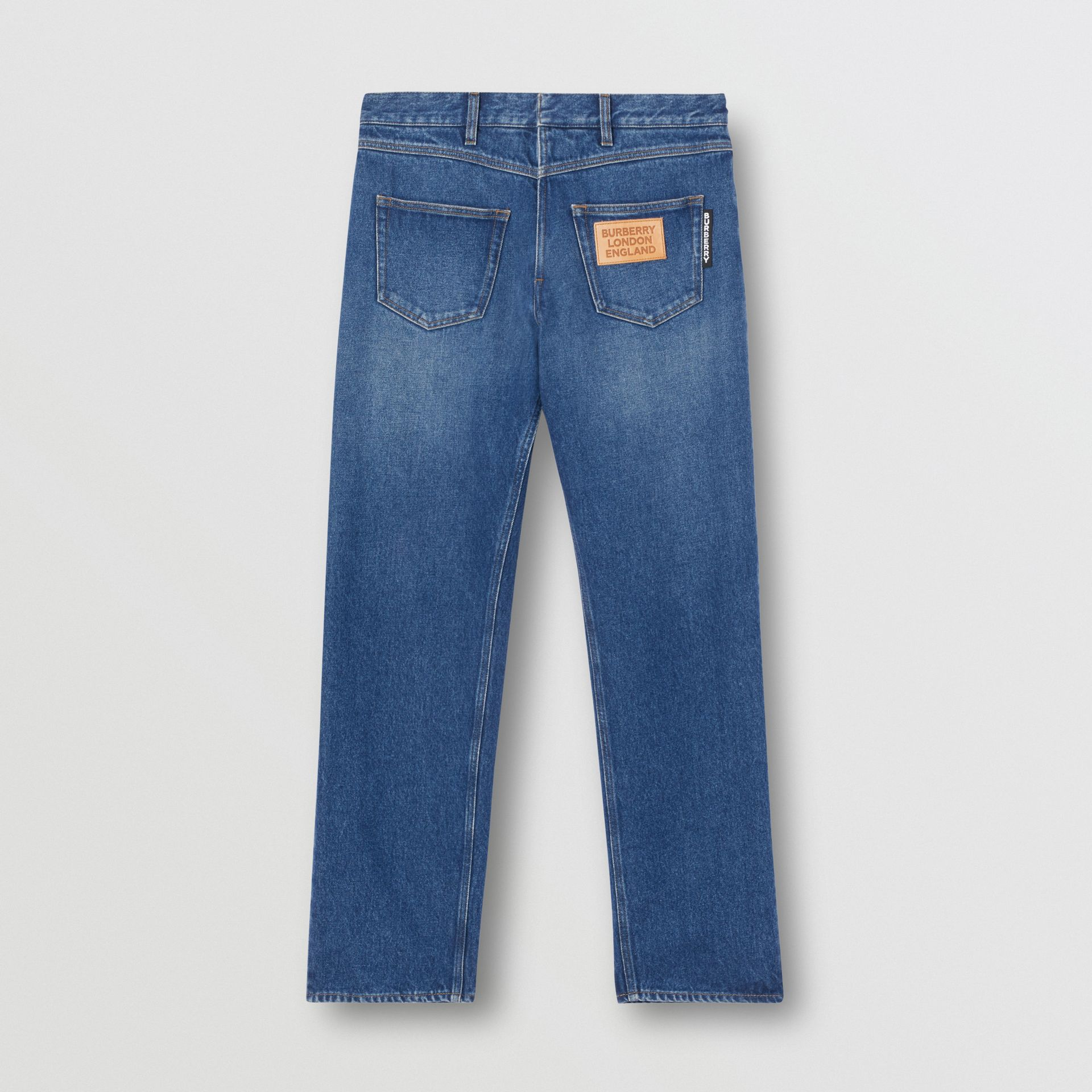 Relaxed Fit Reconstructed Washed Denim Jeans in Indigo Blue - Men | Burberry United Kingdom - gallery image 3