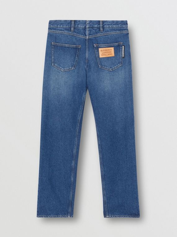 Relaxed Fit Reconstructed Washed Denim Jeans in Indigo Blue