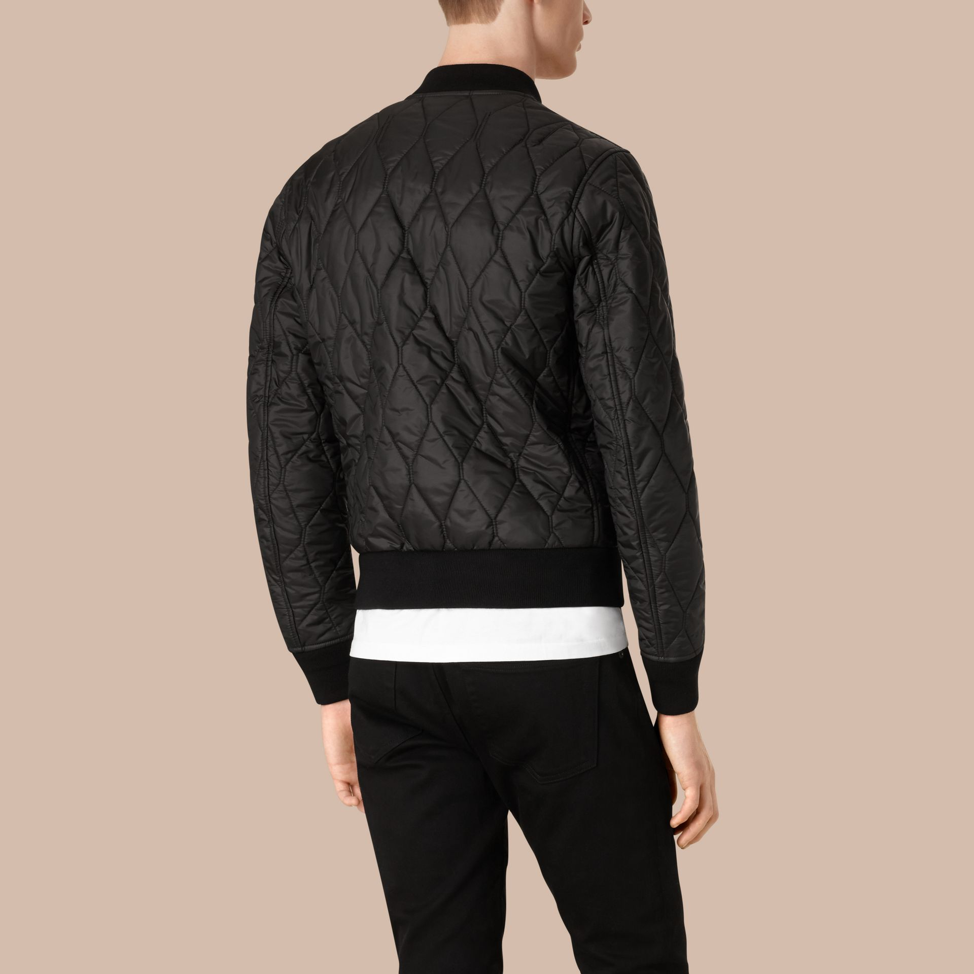 Lightweight Quilted Bomber Jacket in Black - gallery image 2