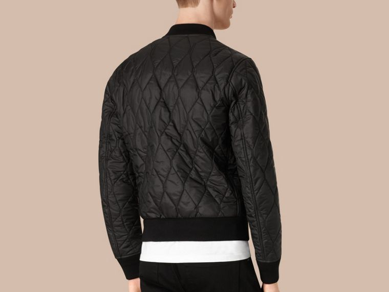 Black Lightweight Quilted Bomber Jacket - cell image 1