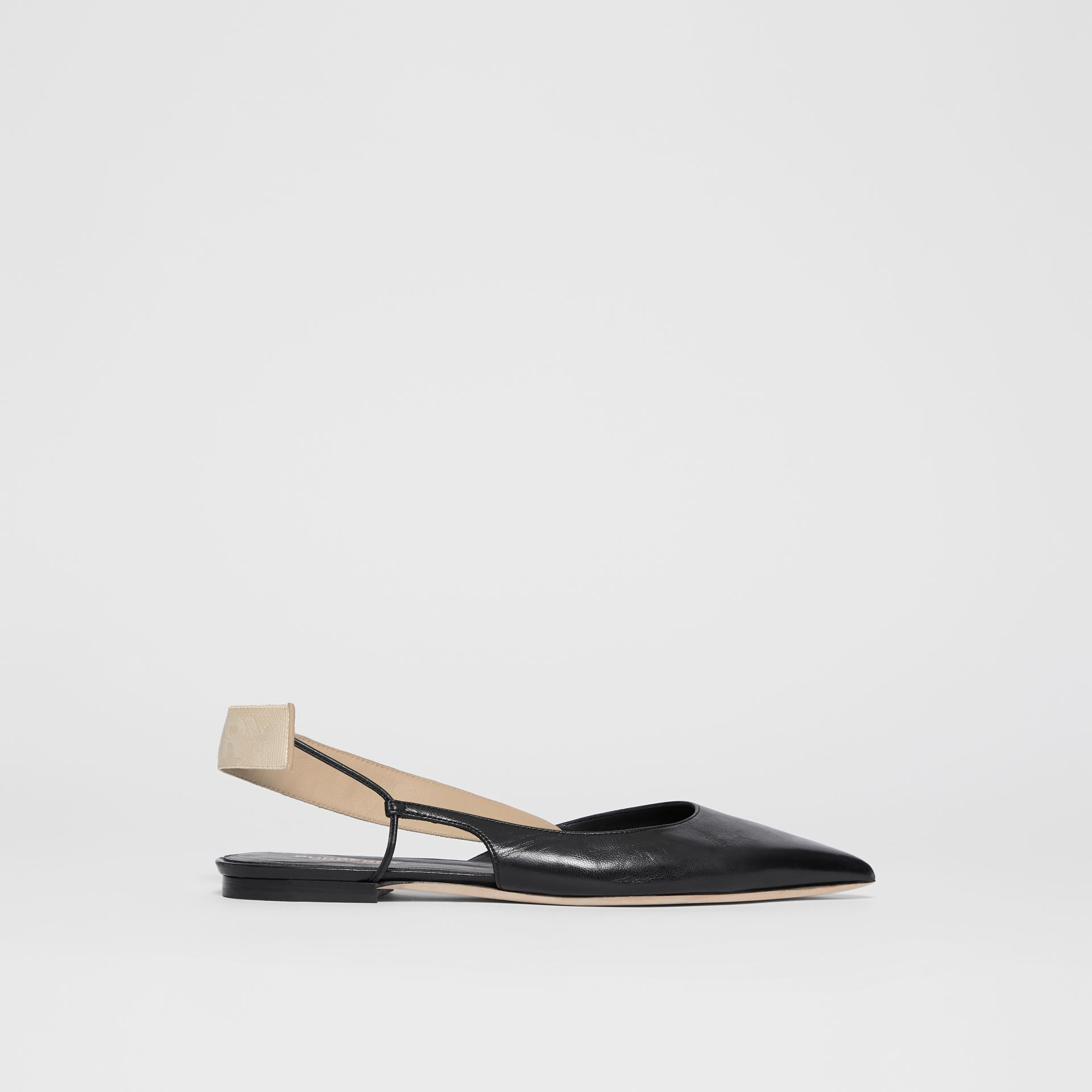 Logo Detail Leather Slingback Flats in Black - Women | Burberry - gallery image 4