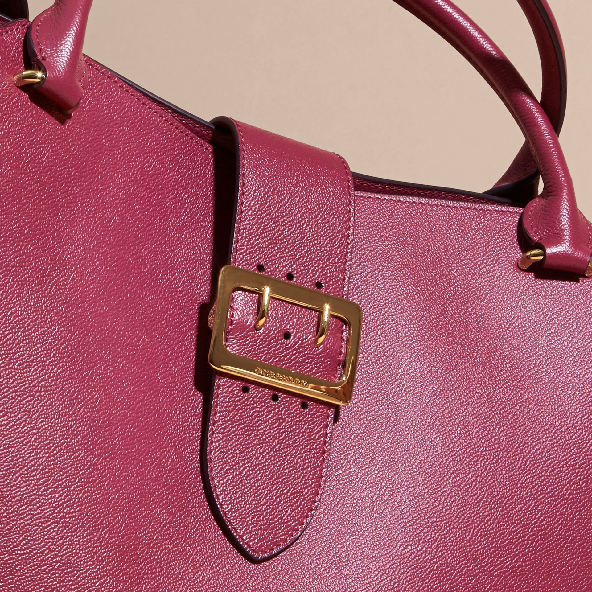 The Large Buckle Tote in Grainy Leather Dark Plum - gallery image 2
