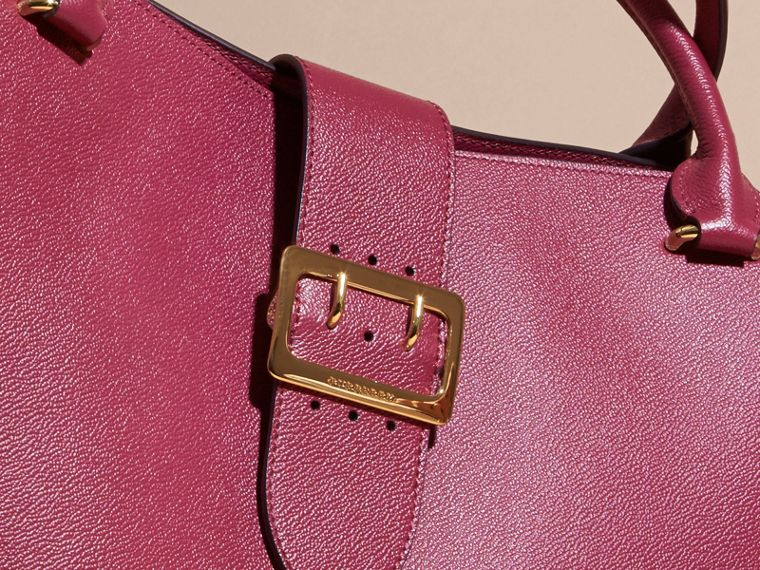 The Large Buckle Tote in Grainy Leather Dark Plum - cell image 1