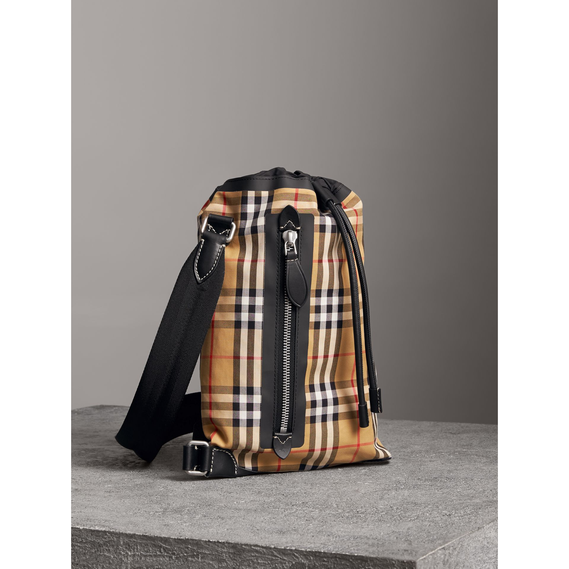 Small Vintage Check Cotton Duffle Bag in Antique Yellow - Women | Burberry Singapore - gallery image 6