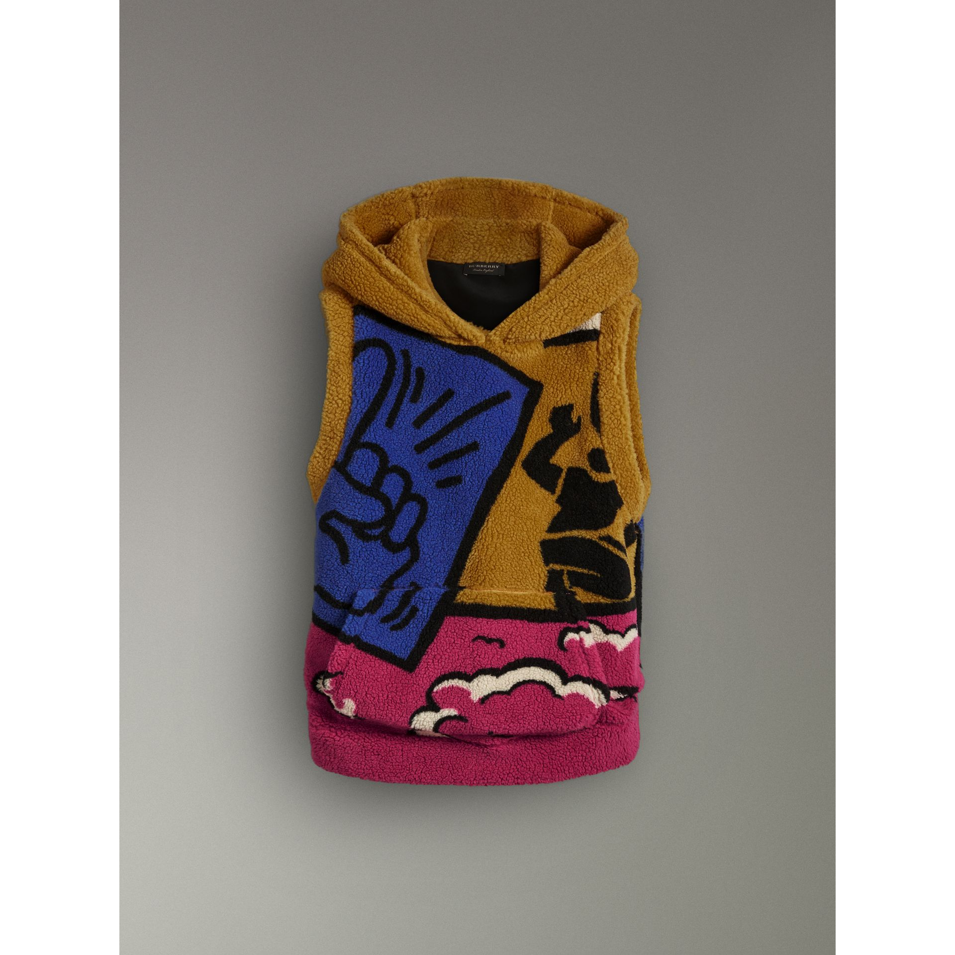 Poster Graphic Fleece Jacquard Sleeveless Hoodie in Bright Pink - Women | Burberry United States - gallery image 3