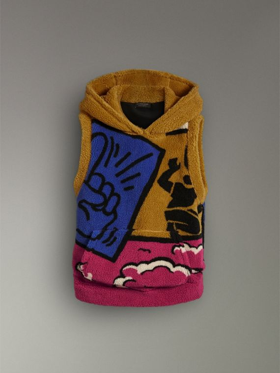 Poster Graphic Fleece Jacquard Sleeveless Hoodie in Bright Pink - Women | Burberry United States - cell image 3